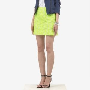 J. CREW Yellow Embroidered Lace Mini Skirt